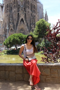 La Sagrada Familia - Wearing Rene Derhy trousers, Tuzzi top, Cavalli Class messenger bag, Ego sandals, Miu Miu sunglasses.