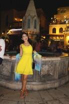 Wearing Silvian Heach dress, Just Cavalli pashmina, Cavalli Class cross-bag, and Bon-bon sandals from Ioannou shoes.