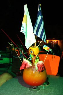 Enjoying a cocktail with our country's flag on!