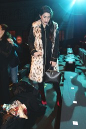 Wearing my Versace Jeans eco fur waistcoat, Just Cavalli black coat, Sante velvet booties and Cavalli Class handbag.