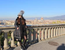 Wearing IDDI puffer coat, Just Cavalli sneakers, Cavalli Class bag.